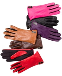 Charter Club Leather Tech Touch Button Trim Gloves Black