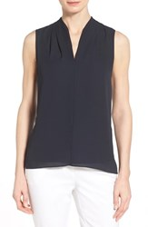 Women's T Tahari 'Edie' Pleat V Neck Blouse Navy