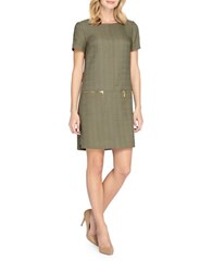 Tahari By Arthur S. Levine Basket Weave Drop Waist Shift Dress Loden