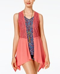 Self Esteem Juniors' 3Fer Crochet Vest With Tank And Necklace Rose Of Sharon