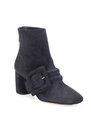 Miu Miu Suede Buckle Block Heel Booties Baltico Navy
