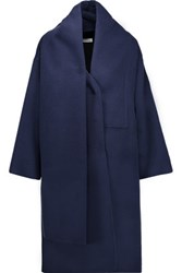Oscar De La Renta Draped Wool Blend Coat Storm Blue