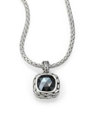 John Hardy Classic Chain Hematite And Sterling Silver Small Square Pendant Necklace Black Silver