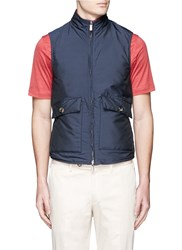Isaia Reversible Cotton Quilted Leather Vest Blue