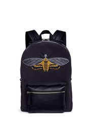 Alexander Mcqueen Skull Moth Embroidery Panelled Suede Backpack Black