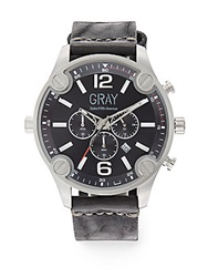 Saks Fifth Avenue Stainless Steel And Leather Strap Watch Black