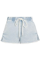 Bassike Frayed Denim Shorts Light Denim