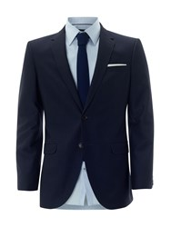 Burton Tailored Fit Textured Suit Jacket Navy
