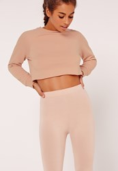 Missguided Petite Raglan Sleeve Crop Raw Hem Sweatshirt Nude Grey