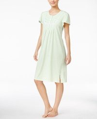 Miss Elaine Embroidered Pointelle Trimmed Nightgown Mint