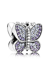Pandora Design Pandora Charm Sterling Silver And Cubic Zirconia Sparkling Butterfly Moments Collection Silver Purple