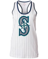 5Th And Ocean Women's Seattle Mariners Pinstripe Glitter Tank Top White