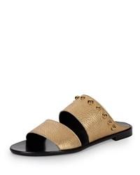 Studded Leather Two Band Mule Gold Lanvin