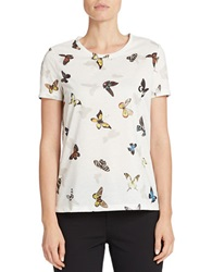 424 Fifth Butterfly Print Tee Ivory