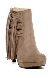 Bucco Gelsey Faux Fur Lined Fringe Trim Heeled Bootie Brown