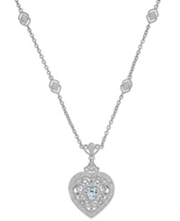 Macy's Aquamarine 5 8 Ct. T.W. And Diamond 1 10 Ct. T.W. Heart Pendant Necklace In Sterling Silver Blue