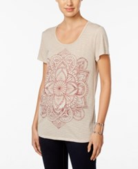Styleandco. Style Co. Floral Graphic T Shirt Only At Macy's Oatmeal Heather