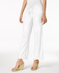 Nydj Petite Jamie Linen Blend Drawstring Pants Optic White