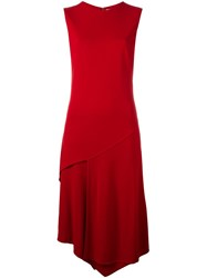 Dkny Asymmetric Midi Dress Red