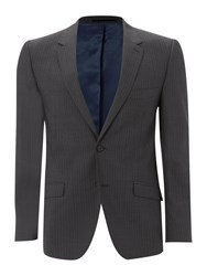 Linea Herringbone Stripe Suit Jacket Charcoal