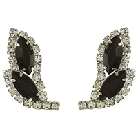 Eclectica Vintage 1950S Chrome Plated Glass Rhinestone Leaf Shape Earrings Black White