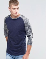 Jack And Jones Raglan 3 4 Sleeve With Floral Print Sleeve Navy Blazer