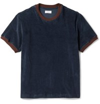 Fanmail Contrast Trimmed Organic Cotton Velour T Shirt Navy