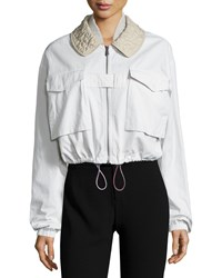 Bottega Veneta Stitched Collar Bomber Jacket Mist Drift Blue Drift Women's