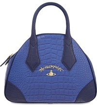 Vivienne Westwood Jungle Crocodile Embossed Leather Handbag Blue