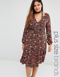 Alice And You Midi Dress In All Over Floral Print Neck Tie Multi