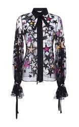 Elie Saab Embroidered Stars Shirt Black White Pink