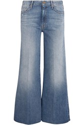 Mother The Roller Cropped Mid Rise Flared Jeans Mid Denim