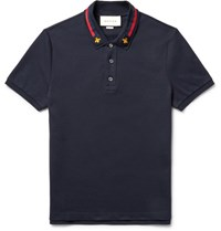 Gucci Webbing Trimmed Stretch Cotton Pique Polo Shirt Navy