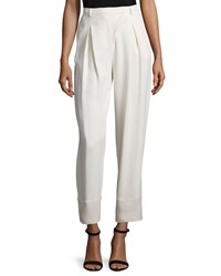 Cnc Costume National Pleated Front Cropped Pants Cream Ivory