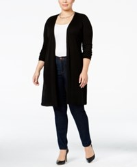 Inc International Concepts Plus Size Ribbed Maxi Cardigan Only At Macy's Black
