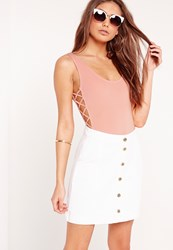 Missguided Lattice Side Bodysuit Pink Pink