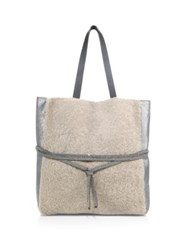 Brunello Cucinelli Shearling And Metallic Leather Tote Grey