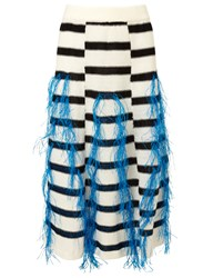 Thakoon White Raffia Fringe Knitted Skirt Multi