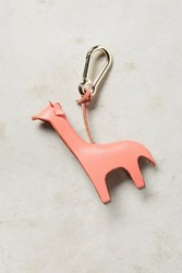 Anthropologie Leather Menagerie Keychain Coral