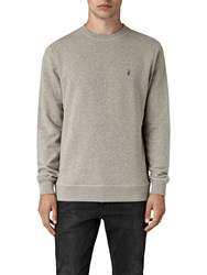 Allsaints Wolfe Crew Long Sleeve Jersey Top Smoke Marl