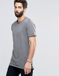 Only And Sons Raw Edge Crew Neck With Oil Wash Detail Black