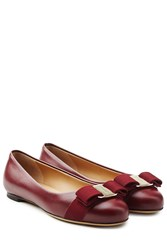 Salvatore Ferragamo Varina Leather Ballet Flats Red