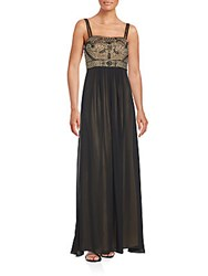 Sue Wong Embellished Empire Waist Gown Black Gold