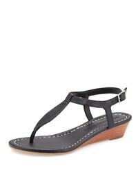 Bernardo Mistral Leather Demi Wedge Sandal Black
