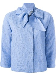 Ermanno Scervino Bow Collar Crop Jacket Blue