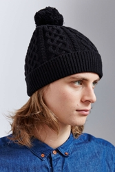 Urban Outfitters Cable Knit Beanie Black