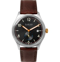 Farer Frobisher Ii Stainless Steel And Leather Watch Brown