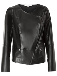 Max Studio Assymetric Zip Leatherette Jacket Black