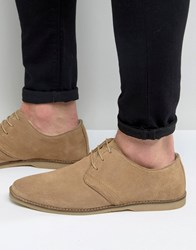 Asos Derby Shoes In Stone Suede With Piped Edging Stone