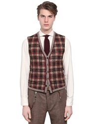 Lardini Plaid Wool Cashmere Blend Knit Vest Brown